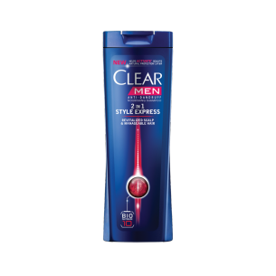 Front of shampoo pack Clear Style Express 2in1 Shampoo 200ml