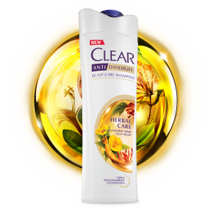Front of shampoo pack Clear Herbal Care Anti-dandruff Shampoo 170ml