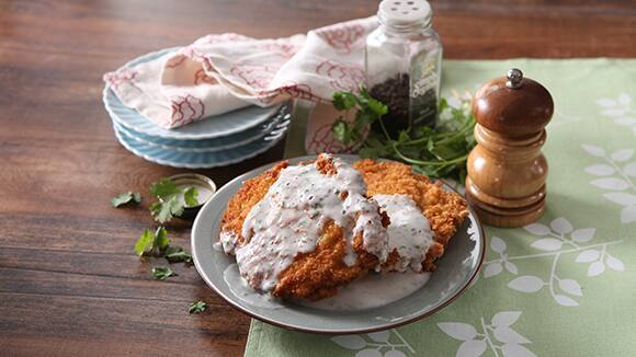 Breaded Pork Chop with Cilantro Coconut Sauce Recipe
