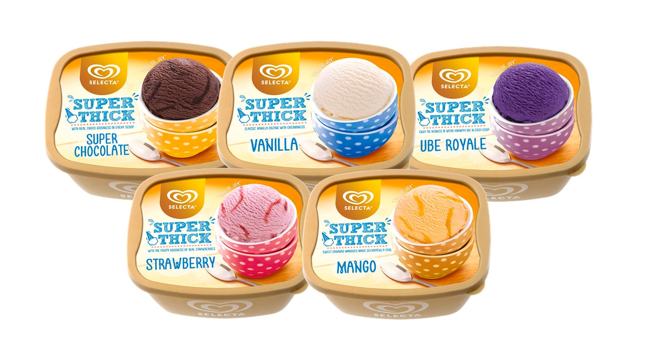 Pack of different icecreams
