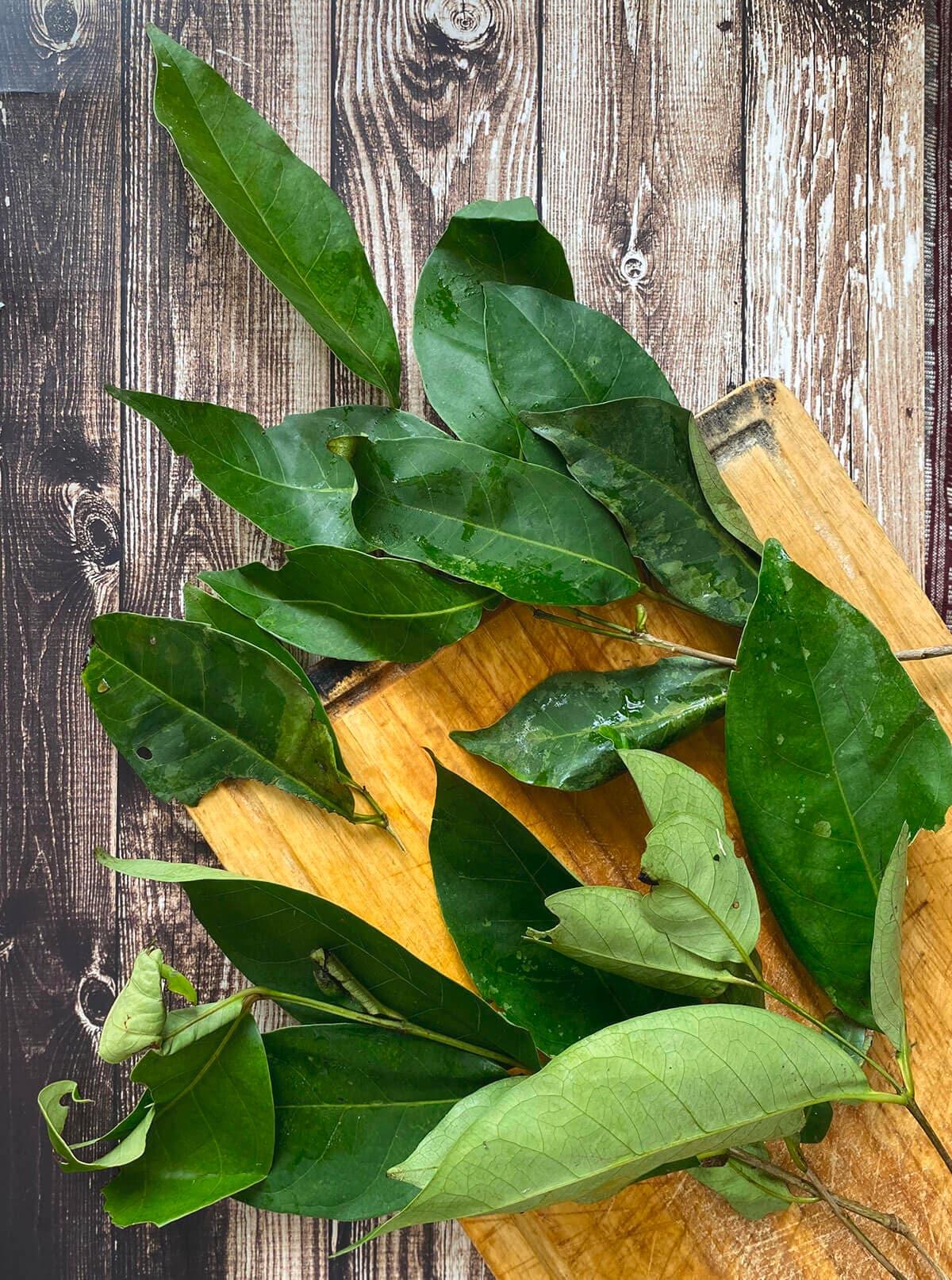 Beberapa helai daun salam di atas papan kayu