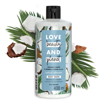 Front of shower gel pack Love Beauty Planet Coconut Water & Mimosa Flower Shower Gel Radical Refresher 400ml