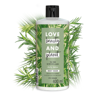 Front of shower gel pack Love Beauty Planet Tea Tree Oil & Vetiver Shower Gel Delightful Detox 400ml