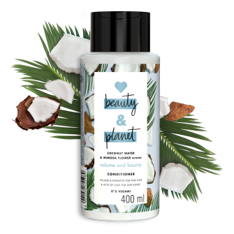 Front of conditioner pack Love Beauty Planet Coconut Water & Mimosa Flower conditioner Volume & Bounty 400ml
