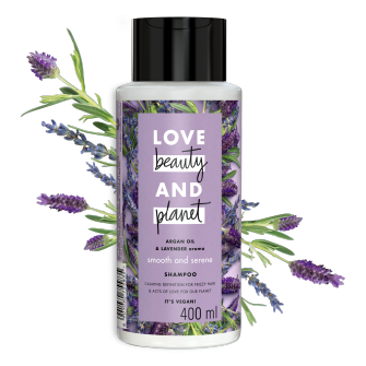 Front of shampoo pack Love Beauty Planet Argan Oil & Lavender Shampoo Smooth & Serene 400ml with Ellen icon