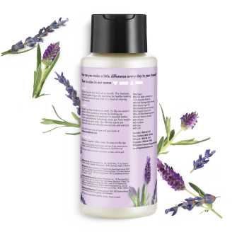 Back of shampoo pack Love Beauty Planet Argan Oil & Lavender Shampoo Smooth & Serene 400ml