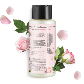 Back of shampoo pack Love Beauty Planet Murumuru Butter & Rose Oil Shampoo Blooming Color 400ml