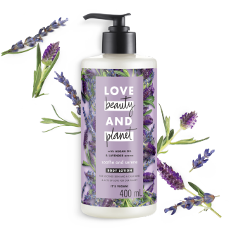 Front of body lotion pack Love Beauty Planet Argan Oil & Lavender Body Lotion Argan Oil & Lavender Soothe & Serene 400ml