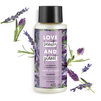 Front of shampoo pack Love Beauty Planet Argan Oil & Lavender Shampoo Smooth & Serene 400ml