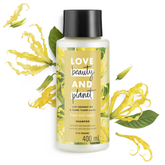 Front of shampoo pack Love Beauty Planet Coconut Oil & Ylang Ylang Shampoo Hope and Repair 400ml