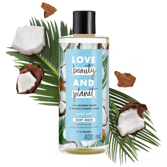 front of pack coconut water & mimosa flower body wash 400ml
