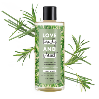 Front of body wash pack Love Beauty Planet Tea Tree & Vetiver Body Wash Daily Detox 400ml