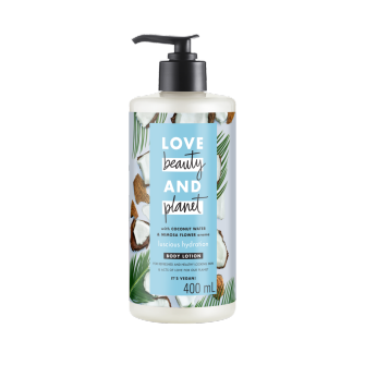Mặt trước sữa dưỡng thể Love Beauty And Planet Coconut Water & Mimosa Luscious Hydration 400ml