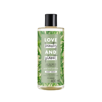 Mặt trước sữa tắm Love Beauty And Planet Tea Tree Oil & Vetiver Pure And Positive 400ml