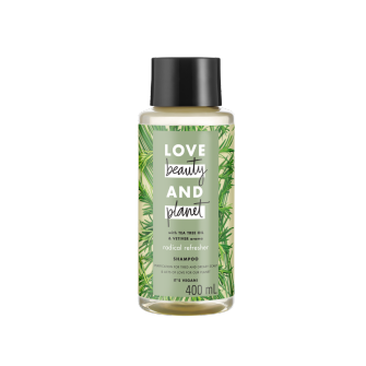 Mặt trước dầu gội Love Beauty And Planet Tea Tree Oil & Vetiver Radical Refresher 400ml