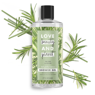 Front of body wash pack Love Beauty Planet Tea Tree Oil & Vetiver body wash Delightful Detox 500ml