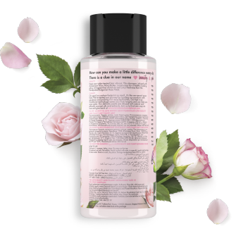 Back of shampoo pack Love Beauty Planet Muru Muru Butter & Rose Shampoo Blooming Colour 400ml