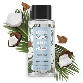 Front of shampoo pack Love Beauty Planet Coconut Water & Mimosa Flower Shampoo Volume & Bounty 400ml