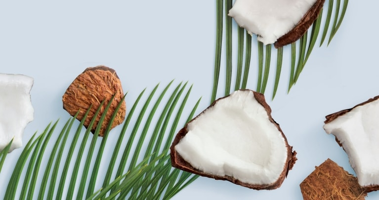 Coconut pieces and leaves