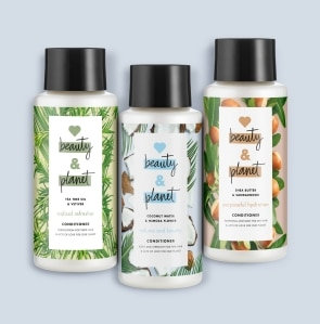 three bottles of conditioner
