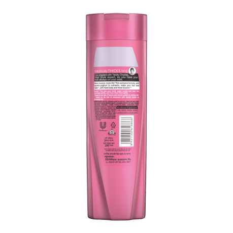 A bottle of  Sunsilk Thick & Long Shampoo 180ml back of pack image