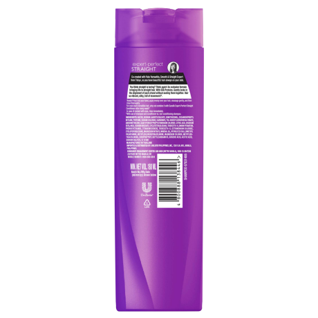 A bottle of Perfect Straight Shampoo 180ml back of pack image
