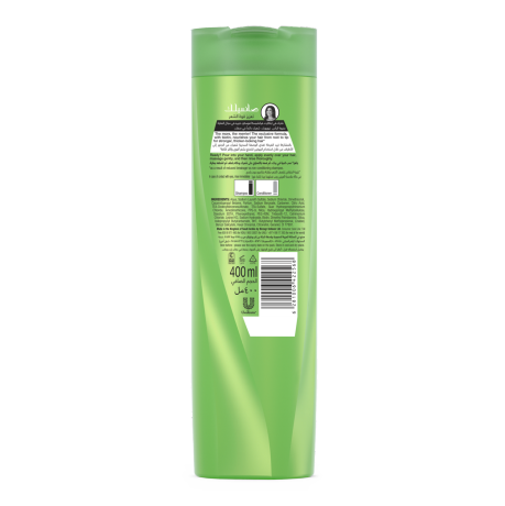 Strong & Long Shampoo 400ml back of pack image.