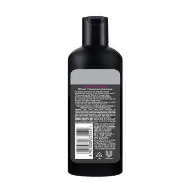 A 80ml bottle of Tresemme Smooth Shine Shampoo back of pack image