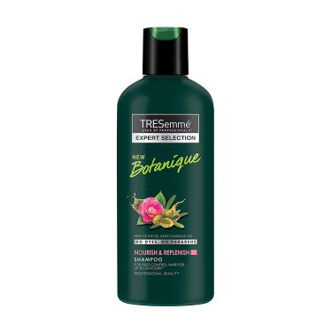 A 80ml bottle of Tresemme Botanique Replenish Shampoo front of pack image