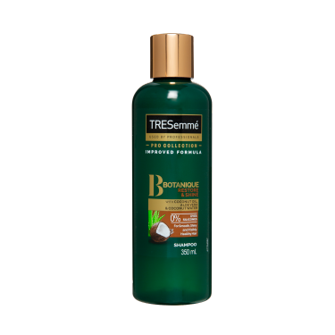 A 350ml bottle of TRESemmé Botanique Restore & Shine Shampoo