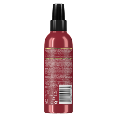 A 200ml bottle of TRESemmé Keratin Smooth Heat Protection Shine Spray back of pack image