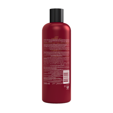 A 500ml bottle of TRESemmé Keratin Smooth Shampoo back of pack image