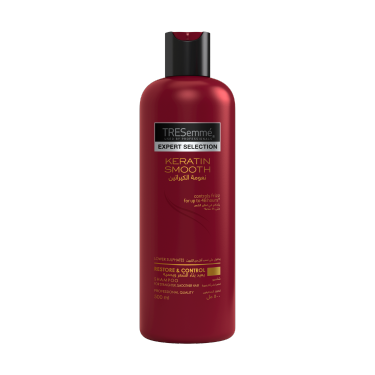 A 500ml bottle of TRESemmé Keratin Smooth Shampoo front of pack image